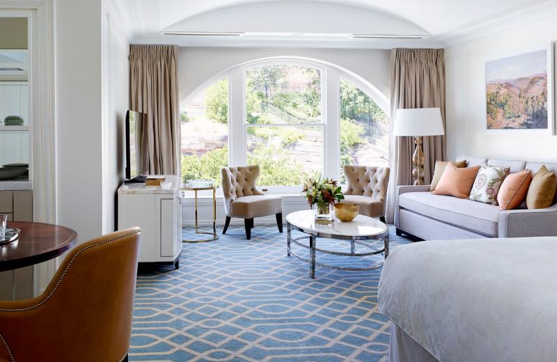 Guest room at Langham Sydney Hotel.