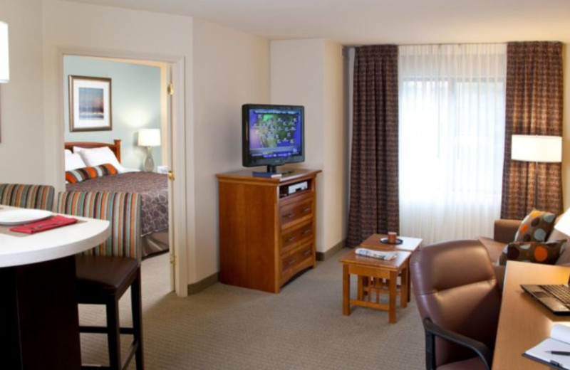 Guest room at Staybridge Suites San Diego Rancho Bernando Area.