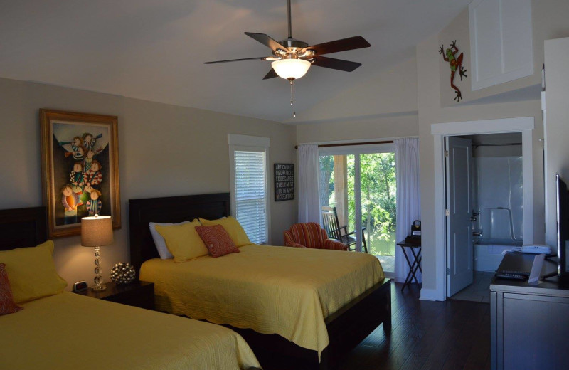 Cottage bedroom at Cape Fear Vineyard and Winery.