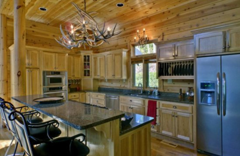 Cabin kitchen at Georgia Mountain Cabin Rentals.