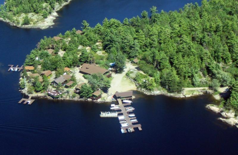 Aerial View of Crane's Lochaven Wilderness Lodge