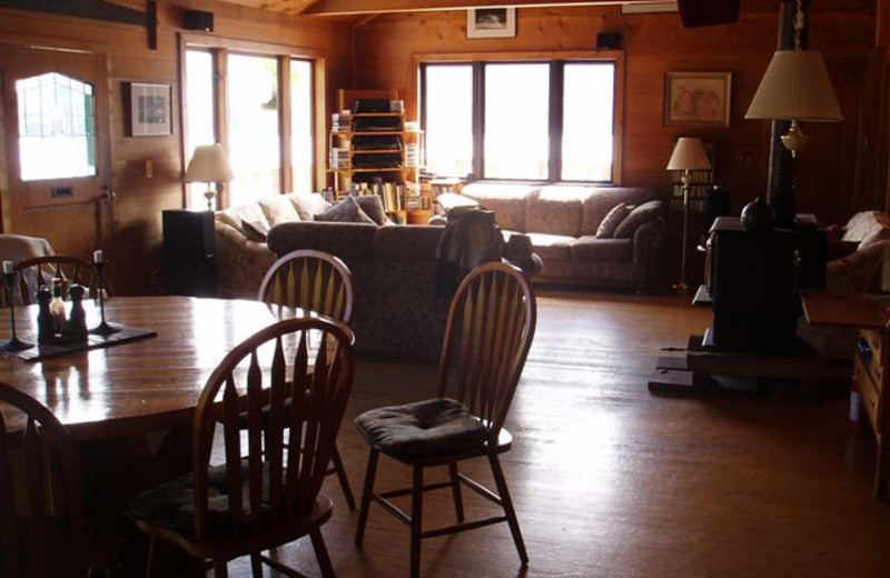 Cabin interior at Blackfish Lodge.