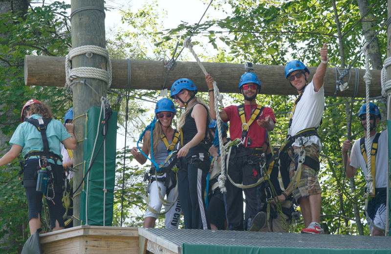 Adventure ropes at Sunapee Harbor Cottages.