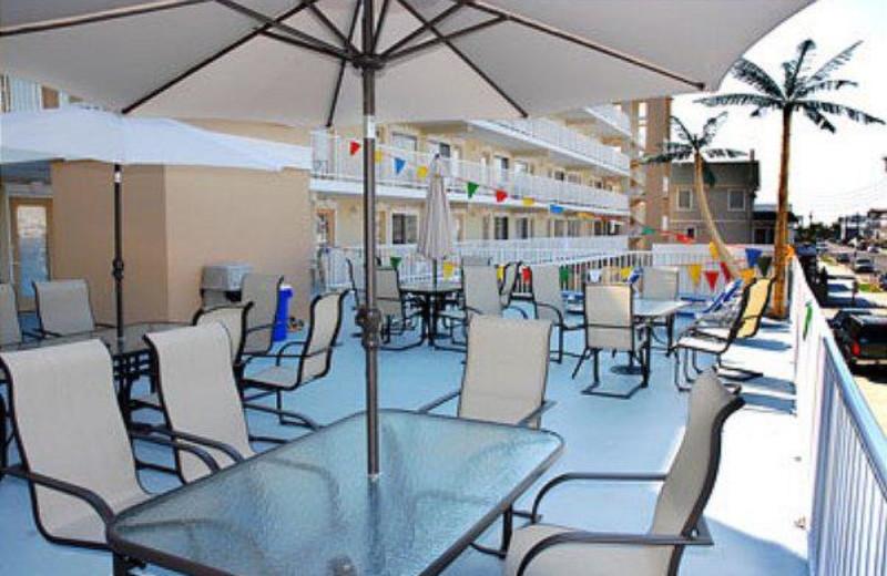 Patio view at Surf Song Beach Resort.