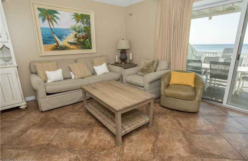 Living room at Holiday Isle Properties - South Bay by the Gulf 124.