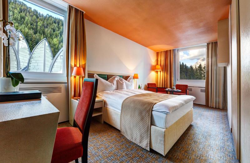 Guest room at Tschuggen Grand Hotel.