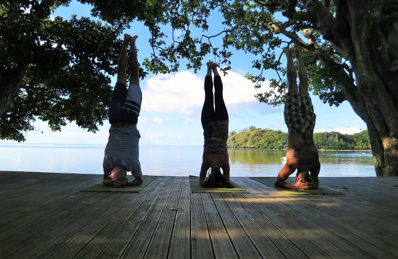 Yoga at Matava Resort.