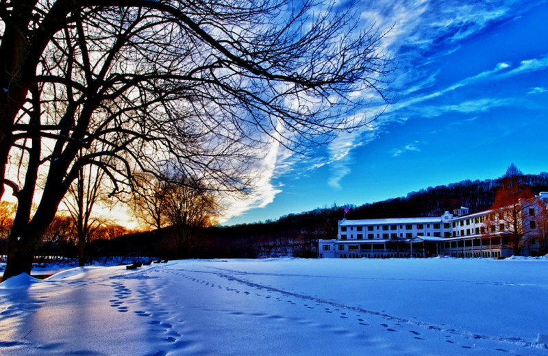 Winter exterior at The Shawnee Inn and Golf Resort.