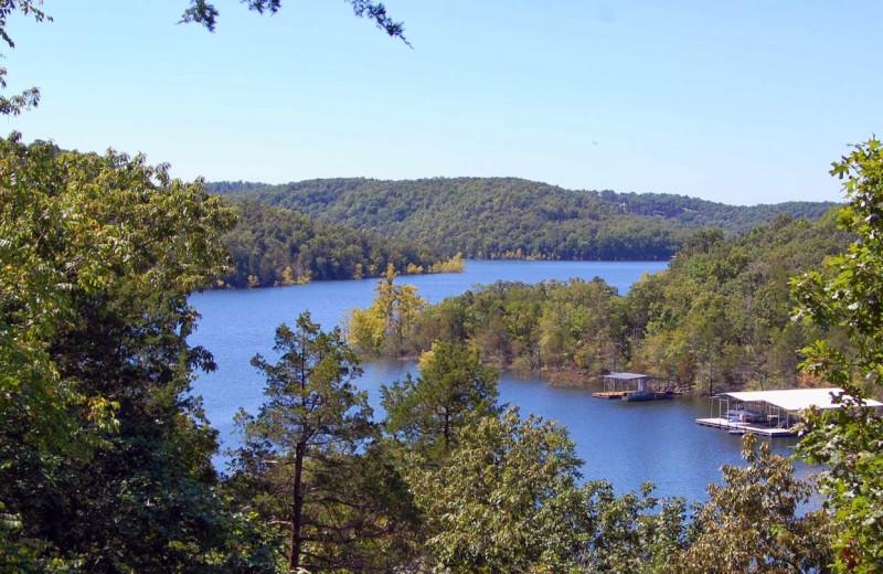Lake view at Beaver Lakefront Cabins.