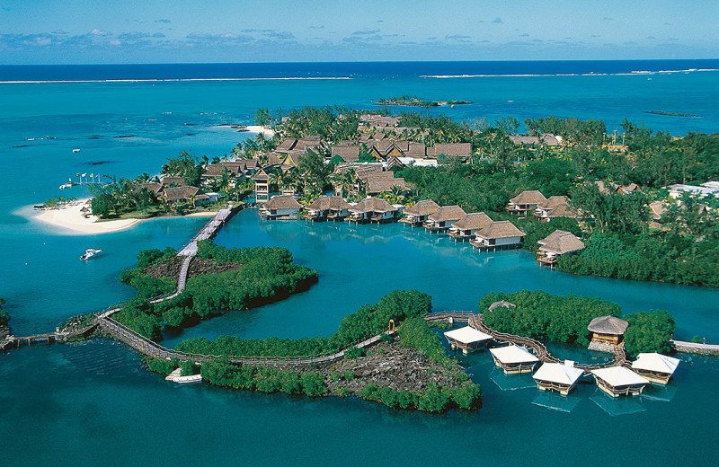 Aerial view of Belle Mare Plage Golf Hotel & Resort.