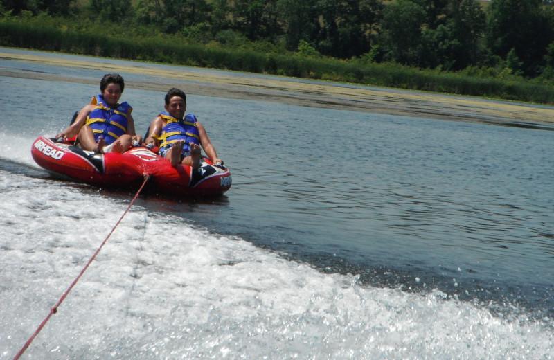 Water tubing at Highland View Resort.