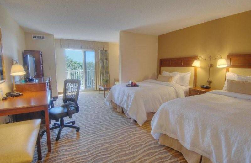 Guest bedroom at Hampton Inn & Suites Jekyll Island.