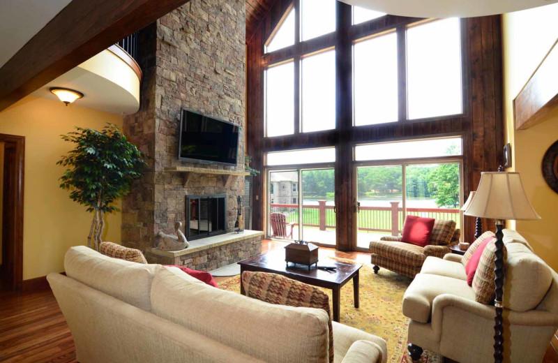 Rental living room at Railey Mountain Lake Vacations.