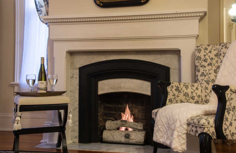 Cozy up next to the fire in the Clement Room.