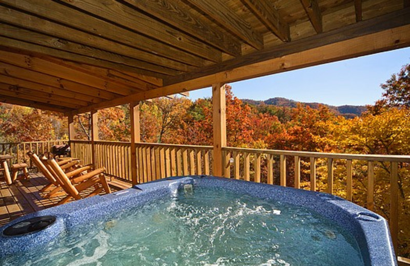 Hot tub on porch at Little Valley Mountain Resort