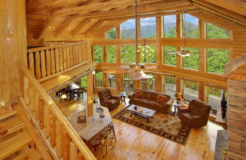 Cabin interior at Cabin Fever Vacations.