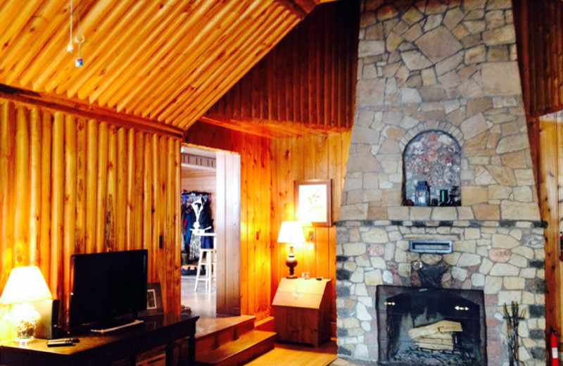 Cabin living room at Northwoods Vacation Lodgings.