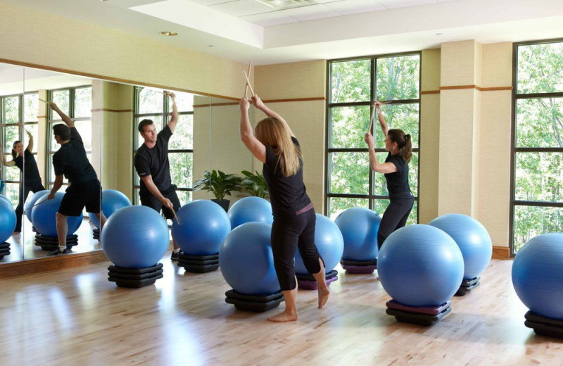 Fitness class at The Lodge at Woodloch.