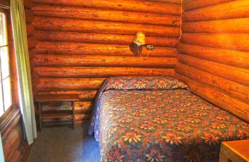 Cabin bedroom at Loon Lake Lodge.