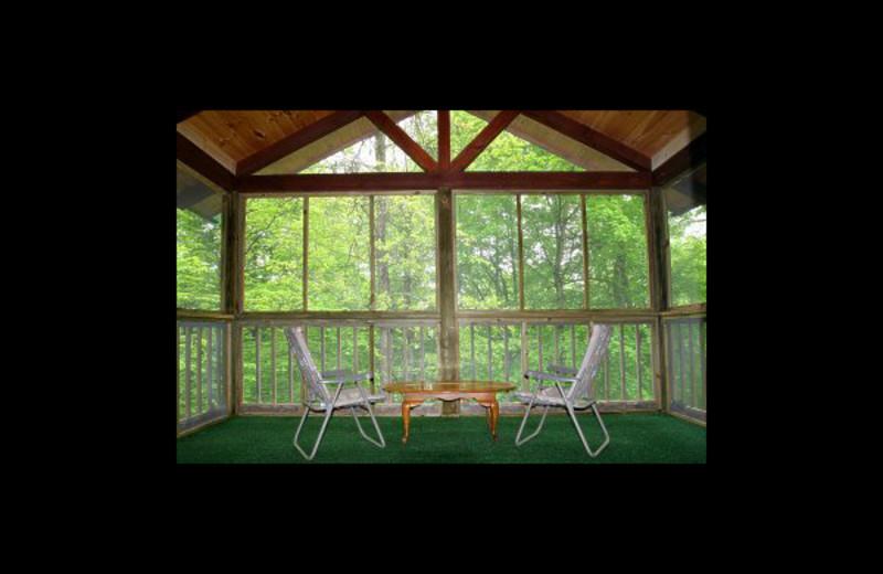 Cabin porch at Hummingbird Hill Cabin Rentals.