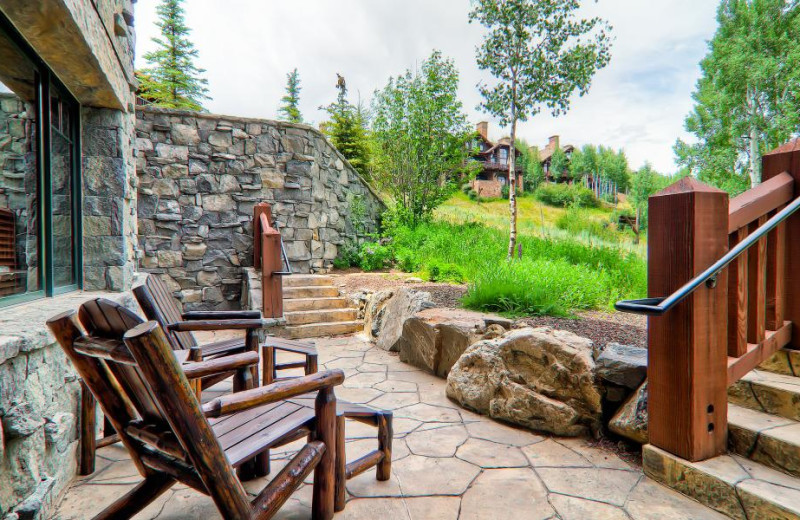 Rental patio at Accommodations Vail Beaver Creek.