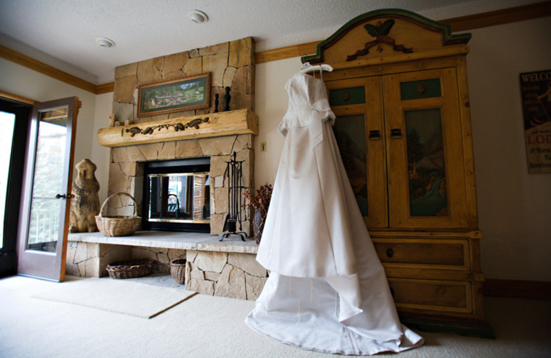 Wedding dress in room at The Charter at Beaver Creek.