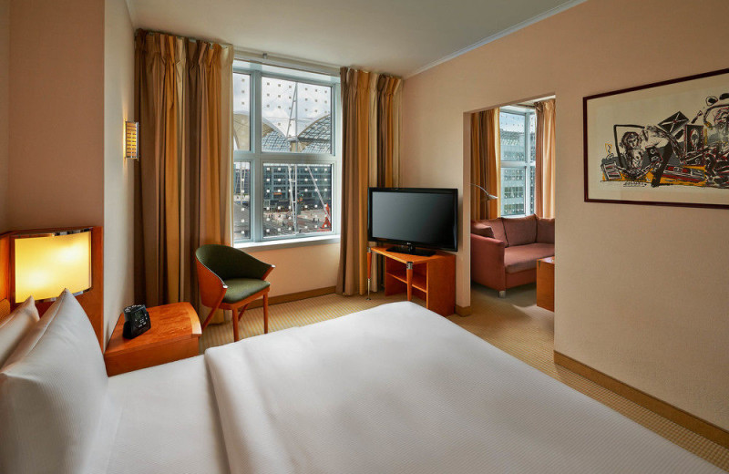 Guest room at Hilton Munich Airport.