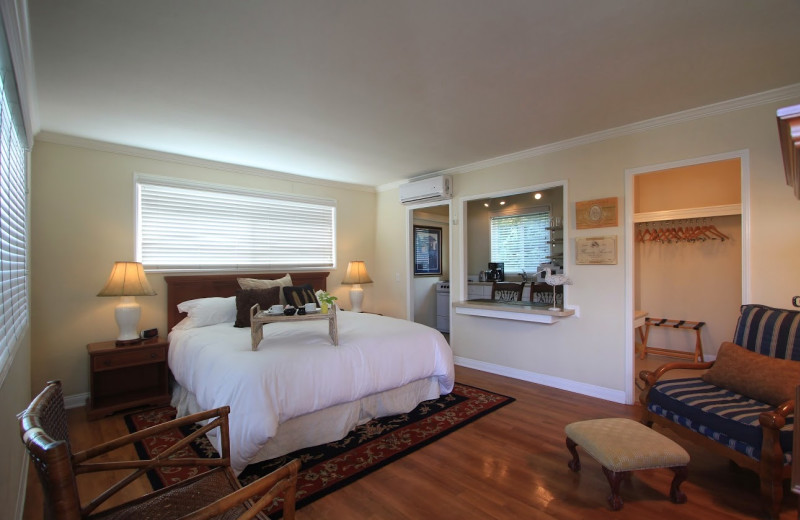 Guest room at The Tides Inn.