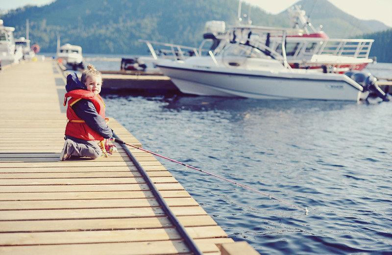 Fishing off dock at Nootka Marine Adventures.