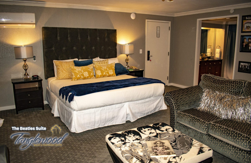 Guest room at Tanglewood Resort and Conference Center.