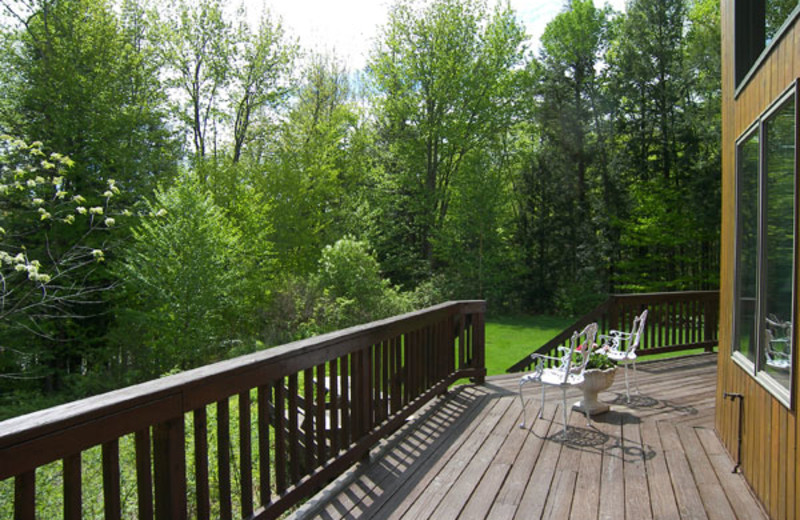 Vacation rental deck view at Loon Reservation Service.