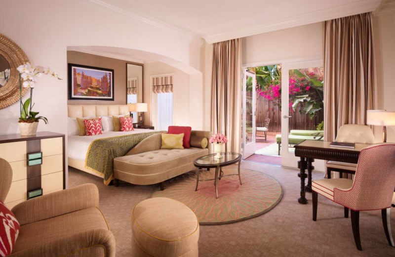Guest room at The Beverly Hills Hotel.