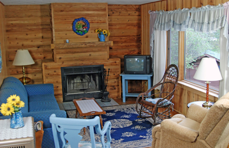 Cabin living room at Northland Lodge.