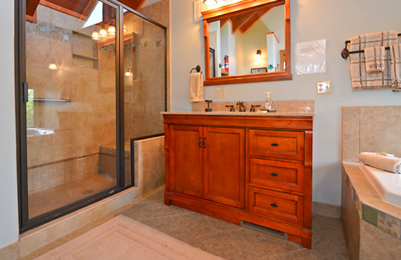 Cabin bathroom at Black Bear Resort Rentals.