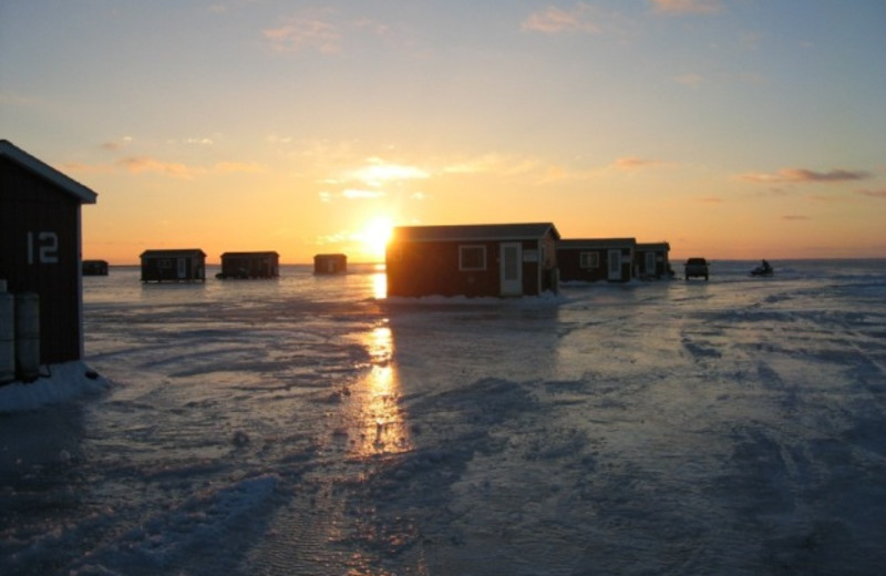 Ice houses at Appeldoorn's Sunset Bay Resort.