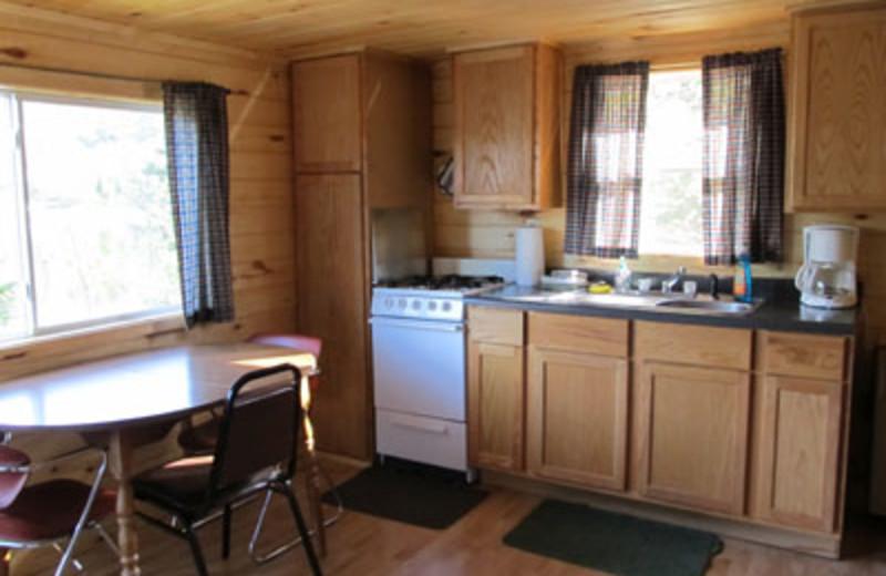 Cabin kitchen at Lac La Belle Lodge.