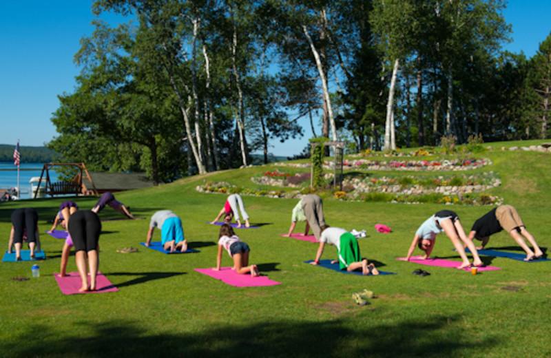 Fitness classes at Sugar Lake Lodge.