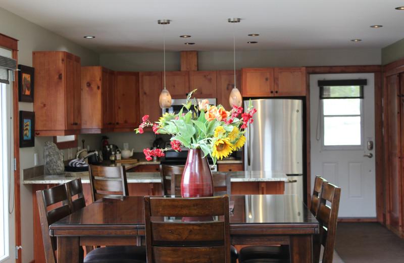 Rental kitchen at Cedar House Restaurant & Chalets.