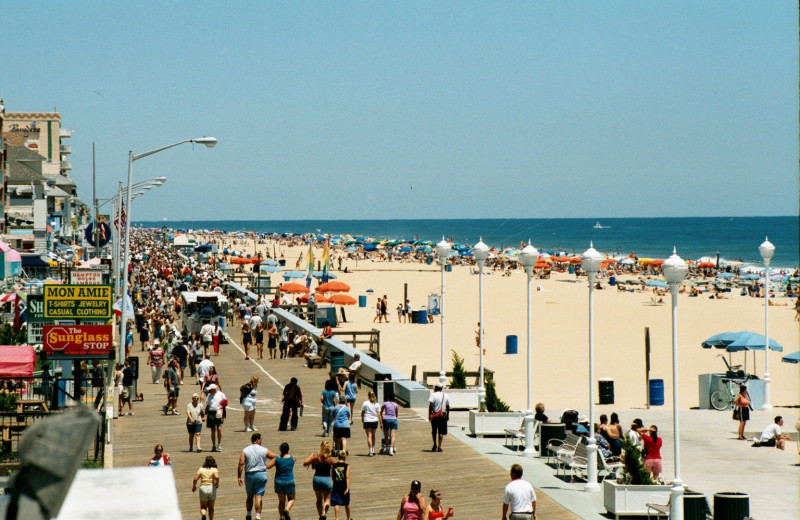 The beach at Hilton Suites Ocean City Oceanfront.