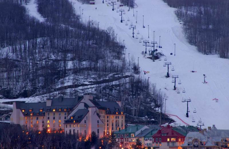 Skiing hill at Fairmont Tremblant Resort.