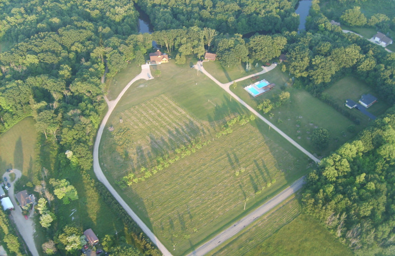 Aerial view of property at Riverbend Retreat Resort Lodge & Cottages.