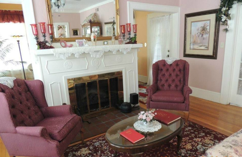 Electric fireplace at Magnolia Inn Bed & Breakfast.