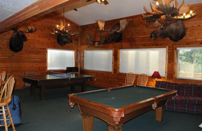 Billiards table at Gone Fishin' Lodge.