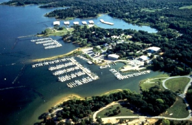 Aerial view at Cedar Mills Marina & Resort.
