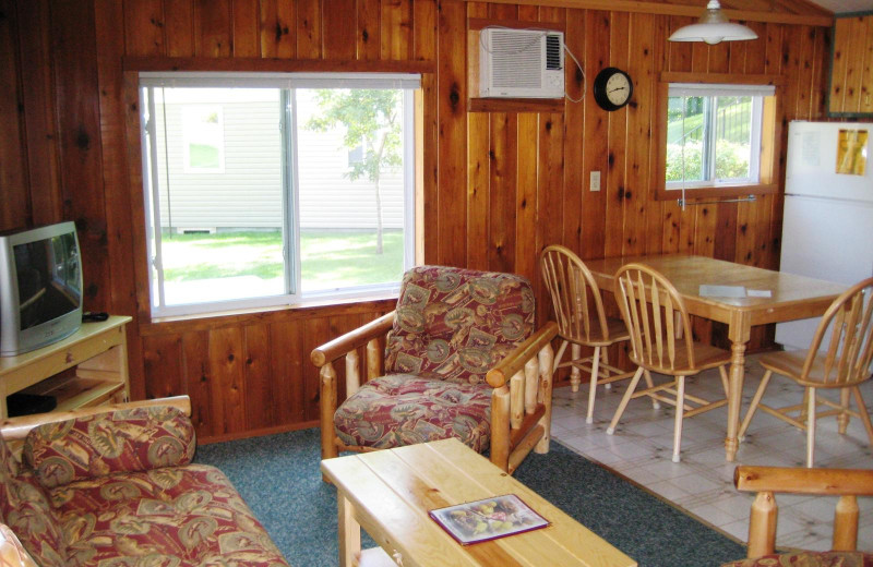 Cabin interior at East Silent Lake Resort.