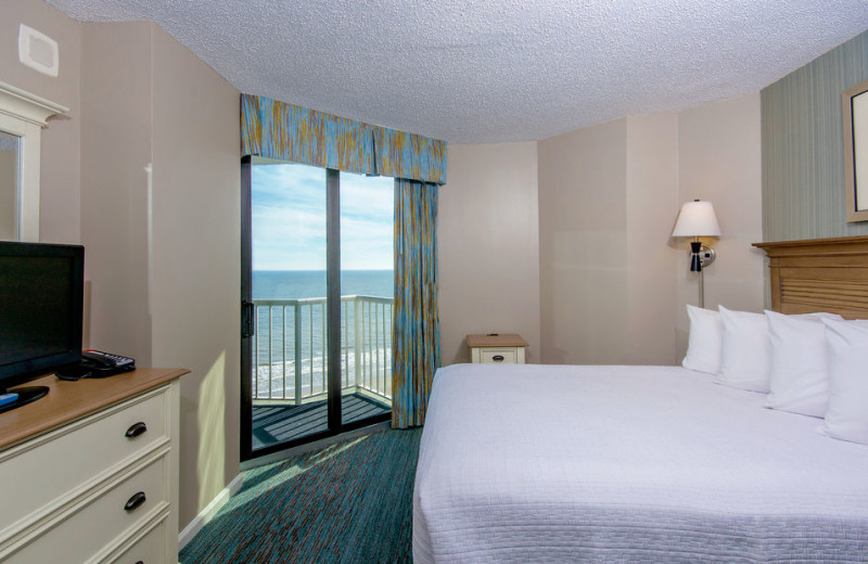 Guest room at The Strand Resort Myrtle Beach.
