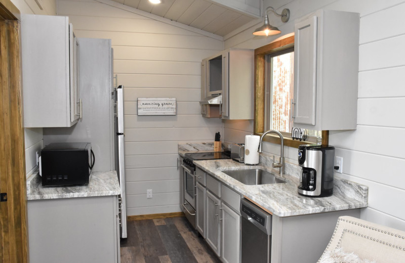 Suite kitchen at Can-U-Canoe Riverview Cabins.