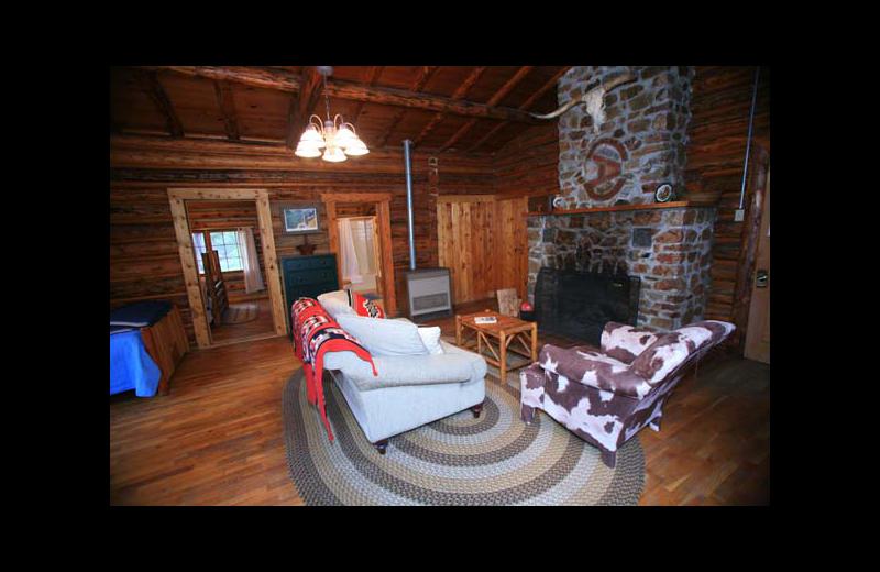 Cabin interior at Rimrock Dude Ranch.