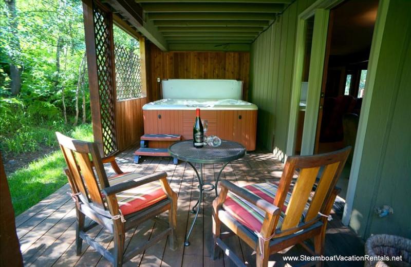 Rental hot tub at Steamboat Vacation Rentals.
