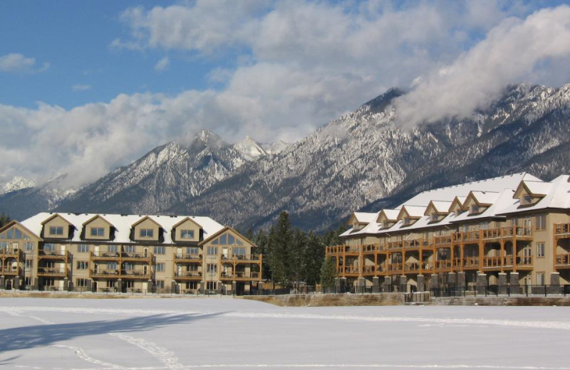 Winter resort view at Bighorn Meadows Resort.